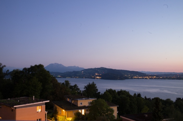 zug, switzerland, dusk